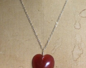 Resin Heart Necklace- Sterling Silver Resin Jewelry by Apricity Jewelry