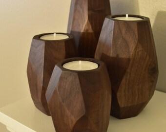 Set of 4 Walnut tea light candle holers