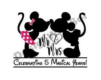 Anniversary Mickey and Minnie customized with number of your choice available as file to print on iron on transfer paper