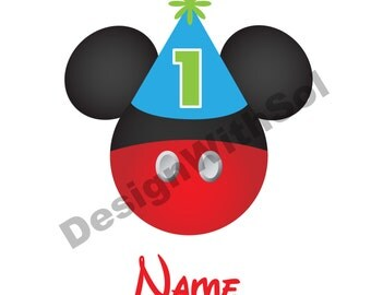 Mickey Birthday Ears customized with name of your choice available as file to print on iron on transfer paper