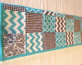 Baby or Toddler Quilt - Aqua & Grey