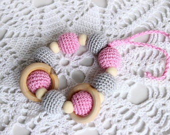 Baby teething toy , Crochet baby rattle , Rattle Baby , Shower Gift , Crochet beads rattle , Teething rattle toy