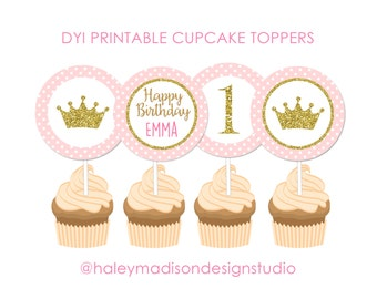 Princess Gold Glitter Pink Personalized Cupcake Toppers DIGITAL FILE