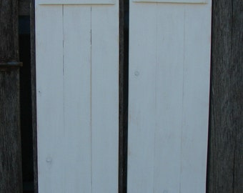 "Hand made shutters 11 "" X  24""   white distressed two in a set."