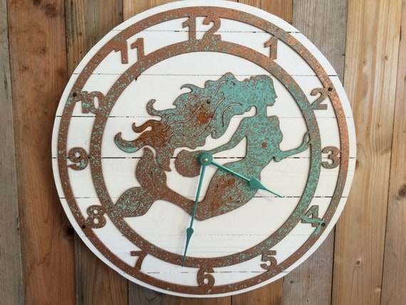 Mermaid Clock Mermaid Decor Large Round Clock Wall Clock