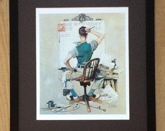 Norman Rockwell Print - The Artist wall art ,20''x16'' frame