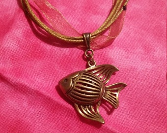 Antiqued Gold Angelfish Necklace