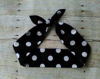 Black and white large polka dot headband bandana hair tie retro pinup rockabilly style!
