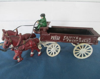 Vintage Cast Metal Horse & Vegetable Wagon Toy Collectible Toys Cast Metal Toys Action Figurines Vintage Toys