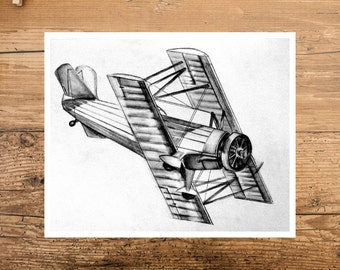 Airplane Drawing - Drawing of Airplane - Airplane Art - Airplane Wall Art