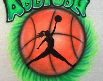 Girls Basketball Airbrushed T shirt personalized your colors name and number