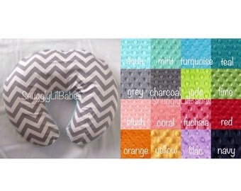 Grey chevron, minky boppy cover, minky dot AVAIL in any color