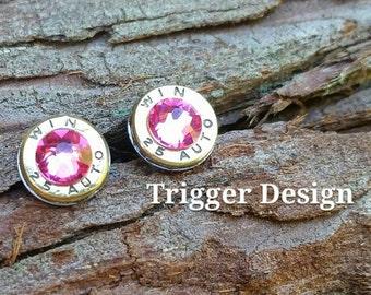 25 Caliber Bullet Casing Post Earrings- Light Pink