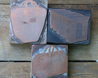 Collection Of Vintage Wood And  Copper Bag Print Blocks, Letterpress Blocks, Bag Print Blocks, Three Letterpress Blocks