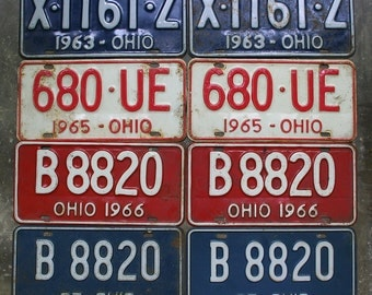 Matching Set Of Ohio License Plates 1960's, One Set Vintage Ohio License Plates