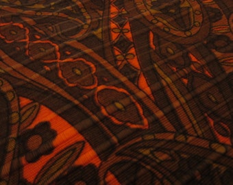 """fabric /  orange and brown paisley / textured / 72"""" x 44"""""""