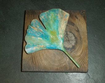 Forged Brass Autumn Ginkgo Plaque IV