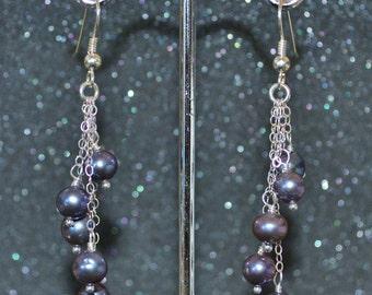 Black Pearl Shower Earrings