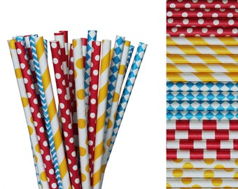 Circus Paper Straw Mix-Red Straws-Polka Dot Straws-Yellow Straws-Blue Straws-Chevron Straws-Carnival Straw-Diamonds-1st Birthday-Clown Party
