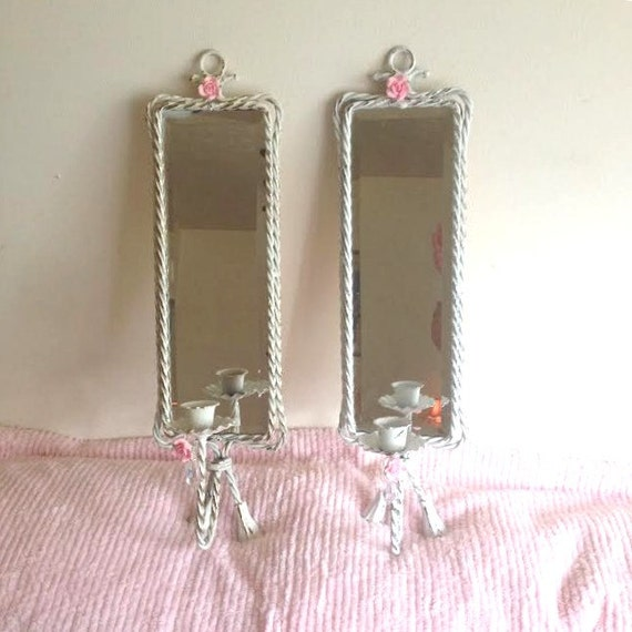 Set Shabby Chic White Mirrored Wall Candle Sconces Pink Roses