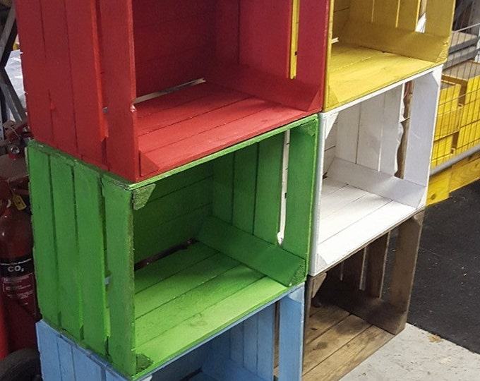 Painted European apple boxes fruit crate shabby chic - Various colours available & Apple crates bushel box - WineBoxesEtc Aboutintivar.Com