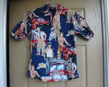 Mens size small shirtless male fireman shirt sexy hunk images novelty item