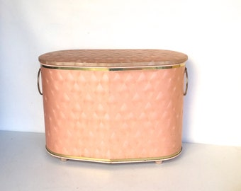 Mid-Century Pink and Gold Clothes Hamper,