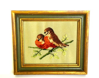 VIntage Framed Needlepoint Picture of Robins Needlepoint Birds