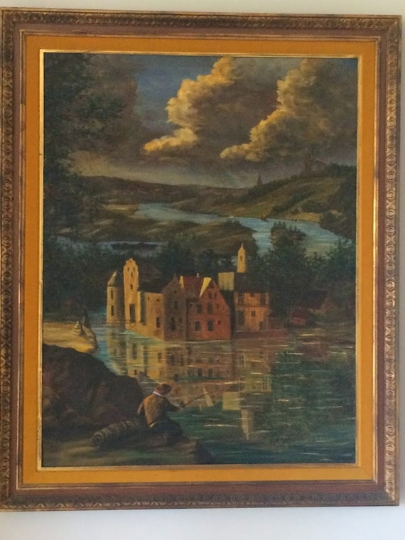 19th Century Framed Oil on Landscape Canvas Painting