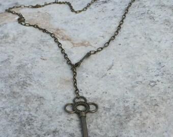 Key Lariat Necklace brass tone