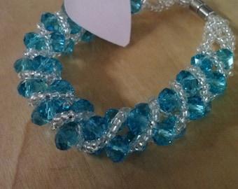 crystal & seed bead woven bracelet