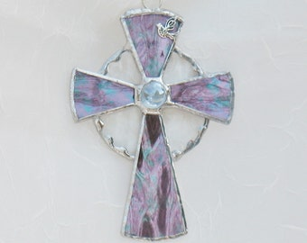 Religious cross in purple or blue stained glass, window hanging suncatcher, religious gift, christian gift, gift for mom, home wall decor
