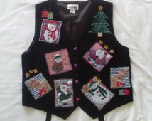 Adorable Vintage Christmas Waistcoat - Ladies Vintage Christmas Sweater Vest - Cute and Kitsch - Santa - Embroidered Waistcoat - Size UK Med