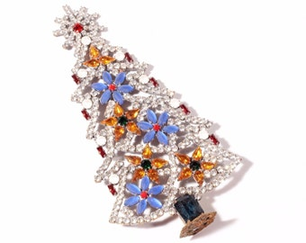 Free standing handmade Czech glass cabochon rhinestone jewelled flower Christmas tree decoration ornament