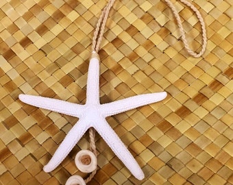 "Starfish with Puka shell- bag accessories / Christmas ornament 3""-3.5"""