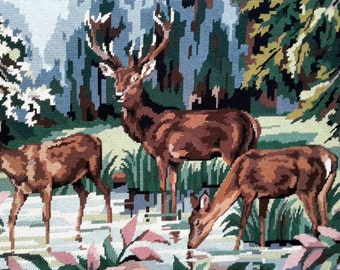 A fine stag with two young deer at the river - vintage handstitched needlepoint tapestry ideal for wall/cushion/pillow/stool/sofa cover