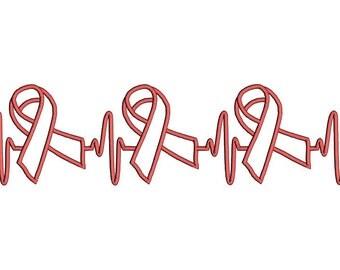 EKG Breast Cancer Awareness Month machine embroidery design. EKG awareness design. Heartbeat awareness ribbon machine embroidery design