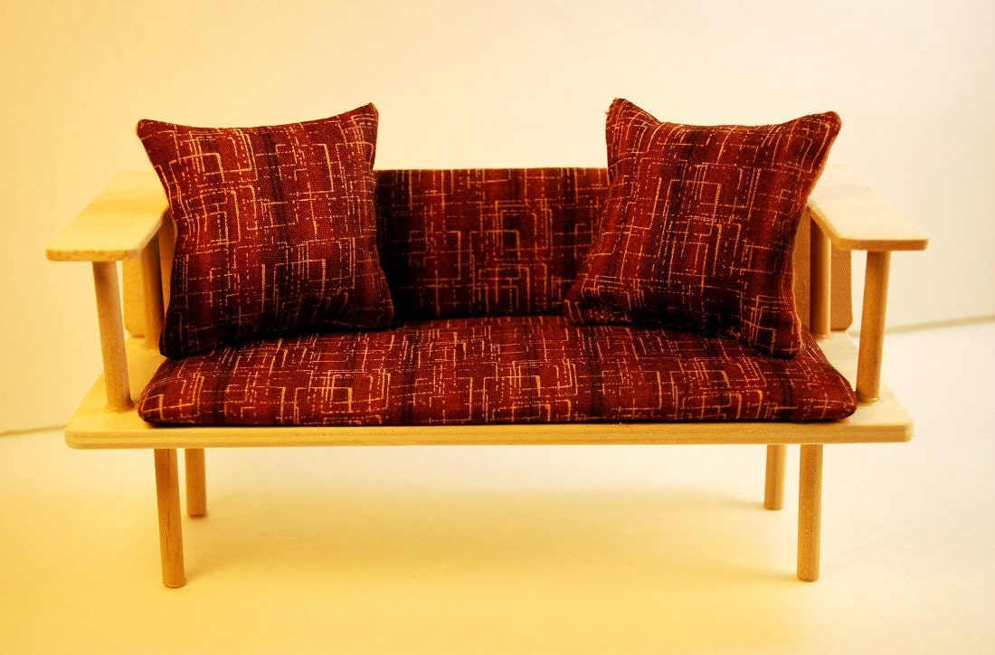 Miniature Mid Century Modern Mod Brown Sofa Couch With Pillows