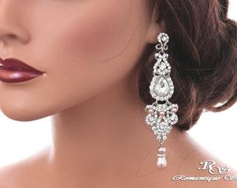 Long bridal earrings Swarovski pearl wedding earrings crystal earrings Pearl bridal jewelry Pearl rhinestone earrings Wedding jewelry 1332