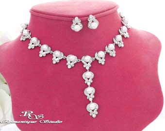 White pearl wedding necklace and earrings pearl wedding jewelry set pearl rhinestone necklace pearl bridal jewelry pearl necklace set  S0115