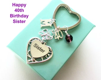 40th birthday gift for Sister - Personalised Sister keyring - Butterfly keyring - Gift for Sister - 40th keyring - Sister birthday - UK