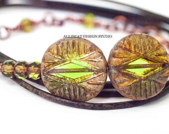 Bohemian Bracelet, Boho Wrap Bracelet, Tribal Translucent Green Picasso 3x Leather Wrap Bracelet (6-7 inch)