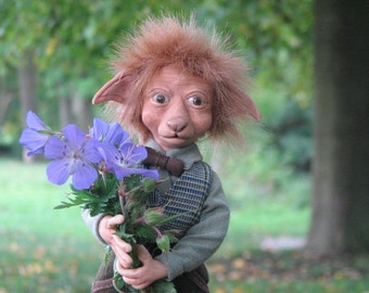 "hand modeled fantasy figure doll ""Leopold"" 25 cm (9,8 inch) high OOAK movable"