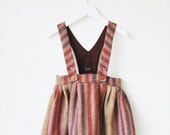 You Are Small...Girls Striped Dungaree Skirt. 100% Wool