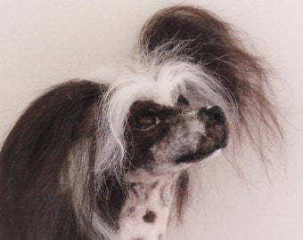 now sold Needle felted Chinese crested dog