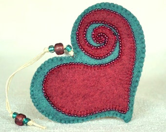 Beaded Plum and Teal Wool Felt Heart Ornament #4, Mother's Day Heart, Wedding Favor, Proposal Idea, Anniversary Gift *Ready to ship