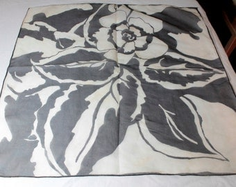 Vtg Semi-Sheer Scarf Large Black White Art Deco Style Floral Print Vintage B/W Square
