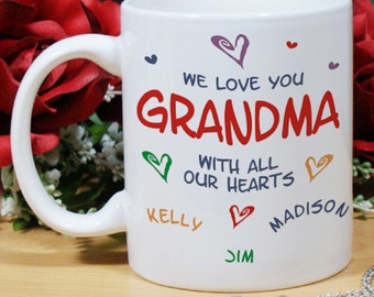Personalized All Our Hearts Grandma White Mug