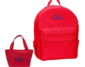 Personalized Monogrammed Matching Backpack Lunchbox Lunch Bag Set Red