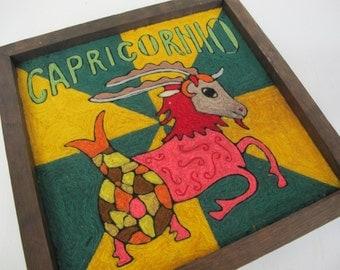 Mod Art Capricorn Art Yarn Art Zodiac Art Ram Goat Yarn Collage Huichol Artisan